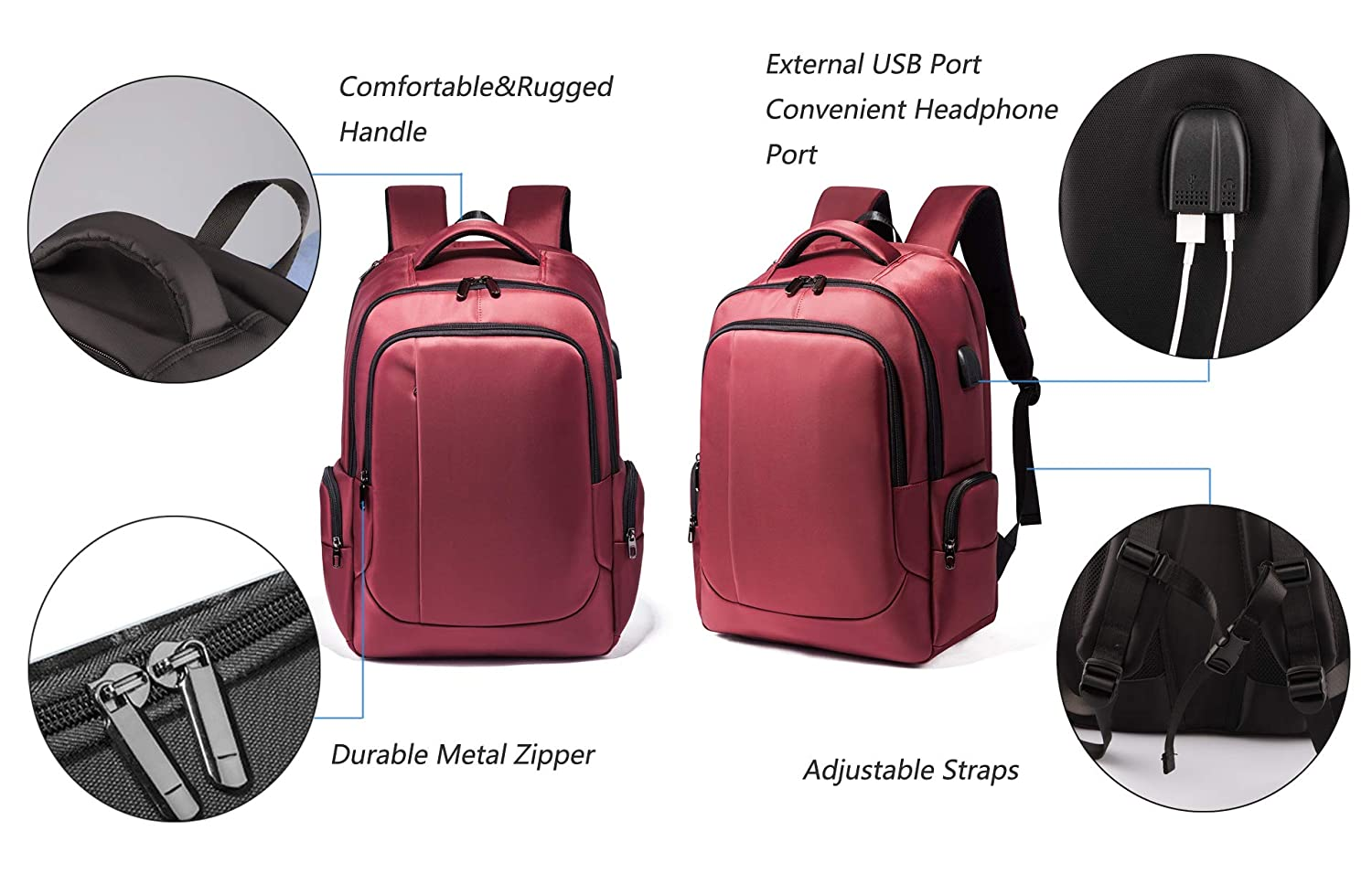 Business Travel Laptop Backpack College Backpack with USB Charging Port for Men and Women Fits 17 Inch Laptop Notebook