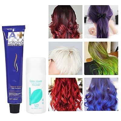 6 colores 100ml / botella de moda de color natural que labra la crema del tinte de pelo con leche doble del oxígeno(rosa)