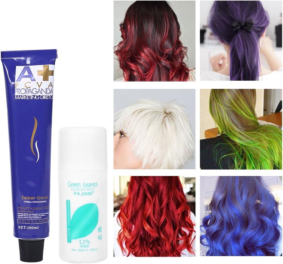 6 colores 100ml / botella de moda de color natural que labra la crema del tinte de pelo con leche doble del oxígeno(azul)