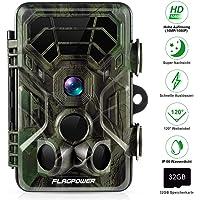 """FLAGPOWER Wildkamera Fotofalle 16MP 1080P Full HD Jagdkamera 120°Weitwinkel 20m Nachtsichtkamera mit Bewegungsmelder IP66 Wasserdicht Überwachungskamera für Wildtierjagd Heimsicherheit 2.4""""LCD MEHRWEG"""