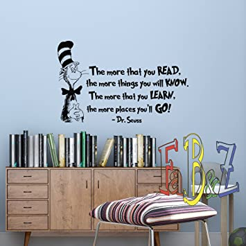 The More That You Read Wall Decal DR SEUSS QUOTES Cat In The Hat Kids Room Part 86
