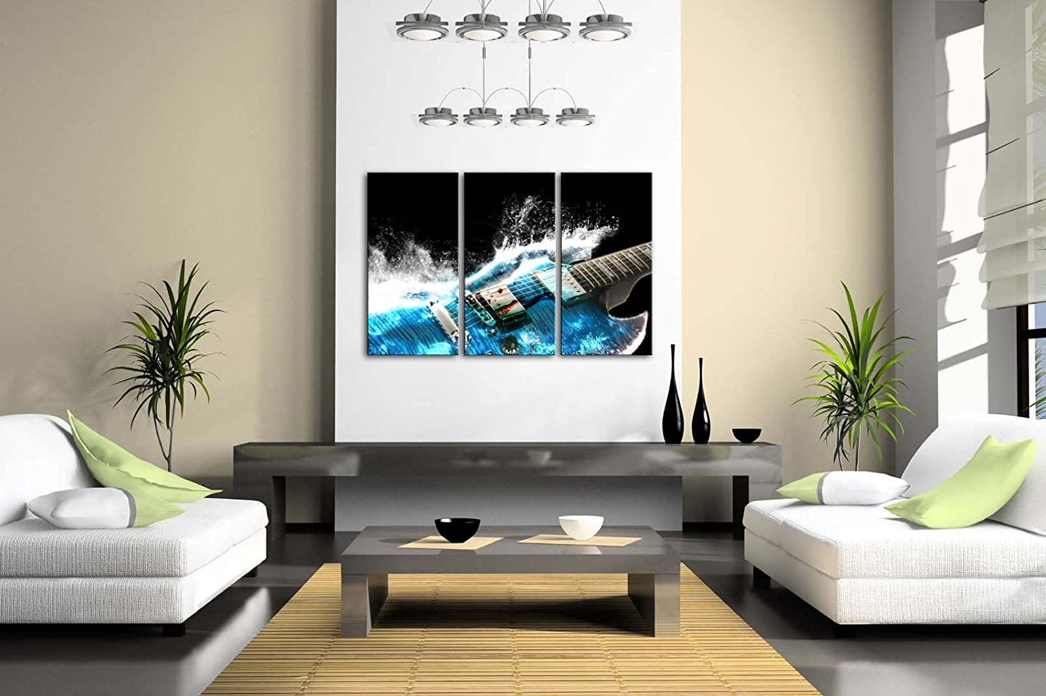Amazon.com: Guitar In Blue And Waves Looks Beautiful Wall Art Painting The  Picture Print On Canvas Music Pictures For Home Decor Decoration Gift:  Posters U0026 ...