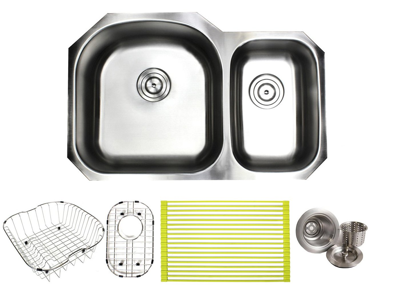 30 Inch Stainless Steel Undermount Double Bowl 60 40 Offset Kitchen Sink – 16 Gauge FREE ACCESSORIES