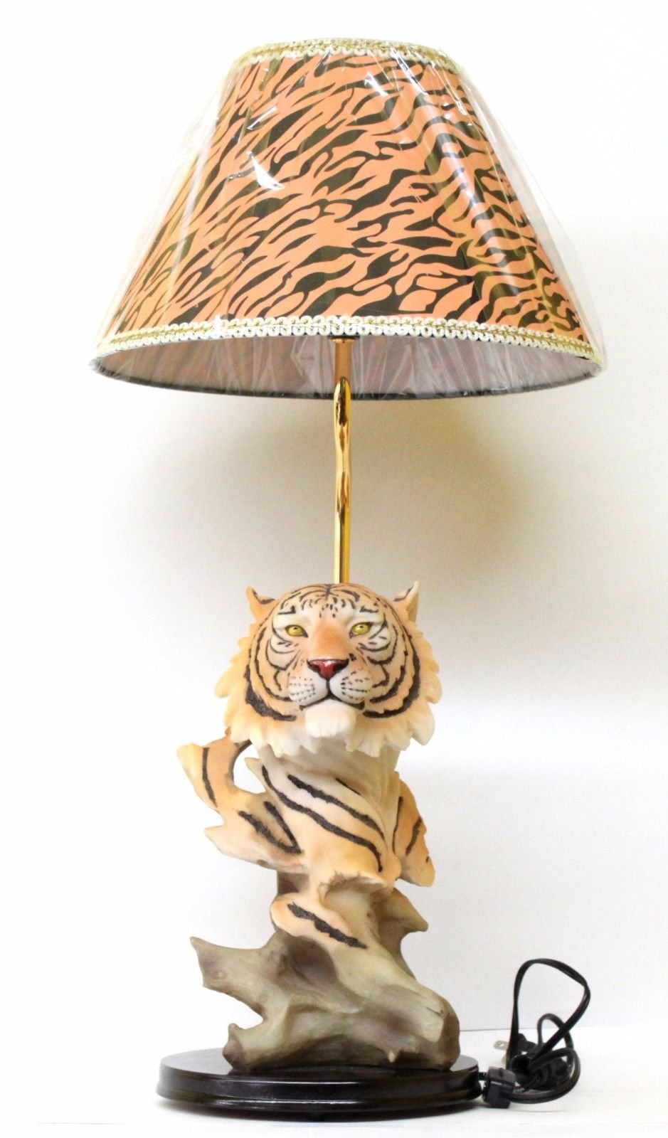 Tiger Statue Lamp with Tiger Striped Print Lamp Shade - Safari Animal Home Decor