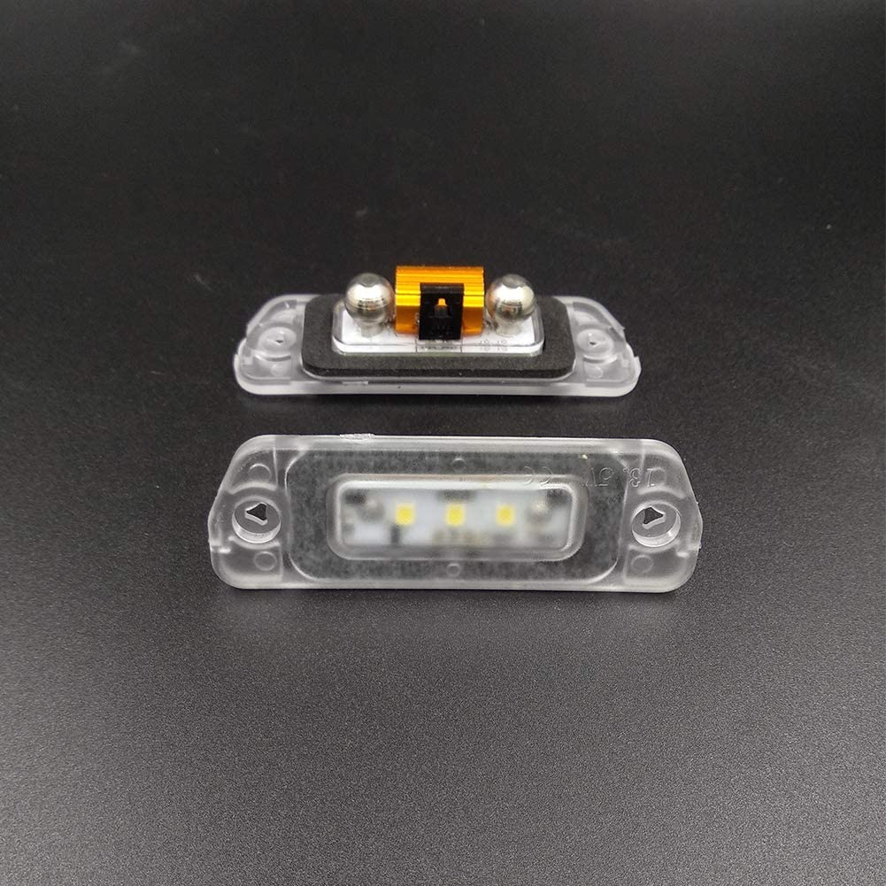 VIPMOTOZ Full LED License Plate Light Tag Lamp Housing Assembly Replacement Pair For 2005-2012 Mercedes-Benz W164 W251 X164 Diesel Engine Models 6000K Diamond White 2-Pieces