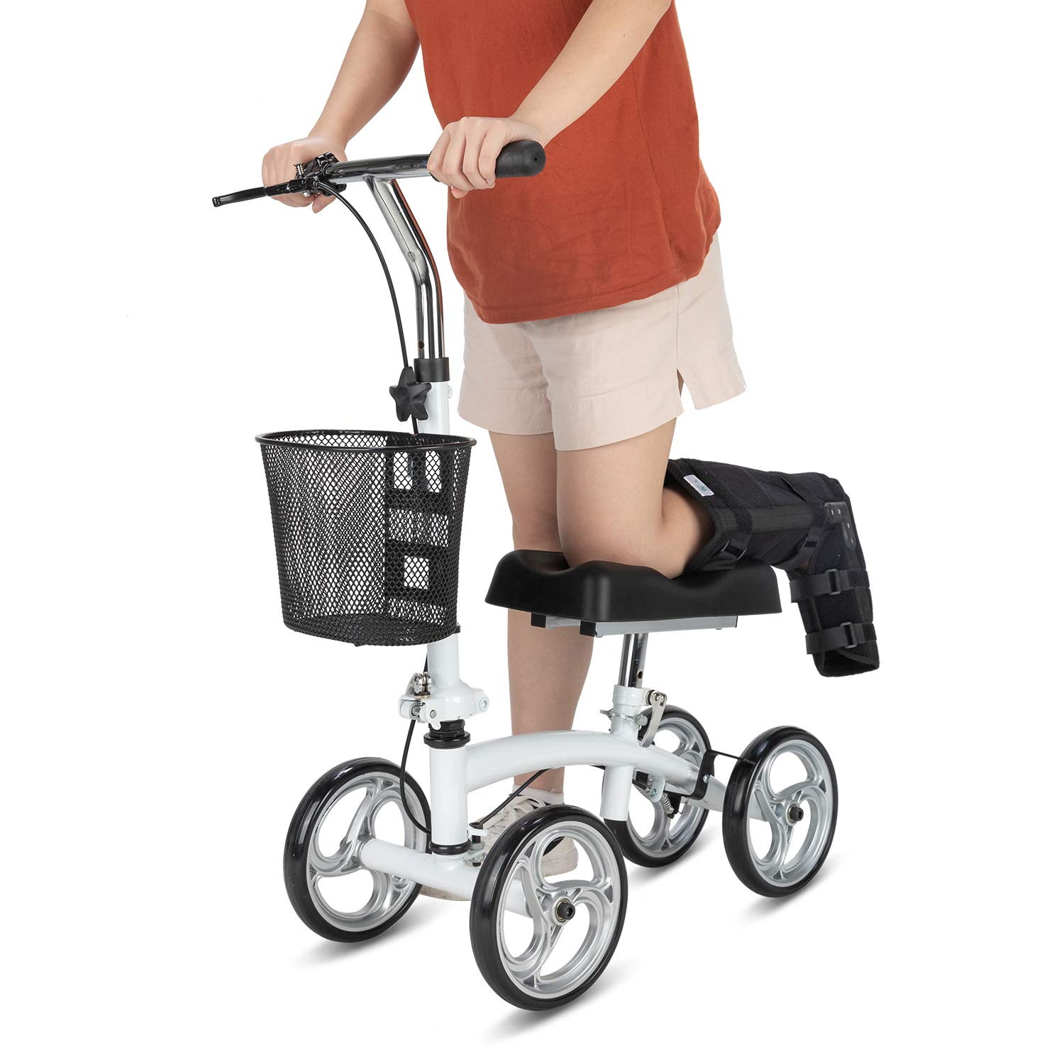 OasisSpace Small Size Lightweight Knee Scooter Walker,Compact and Portable Knee Walker Crutches Alternative