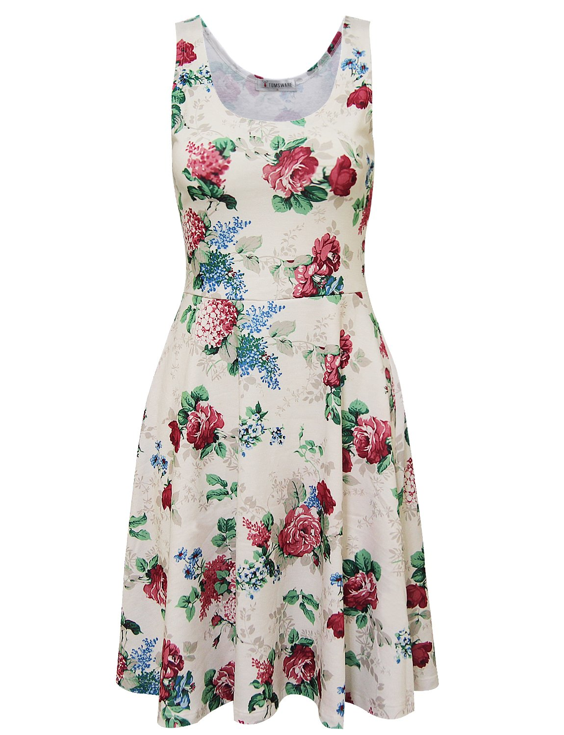 Tom's Ware Womens Casual Fit and Flare Floral Sleeveless Dress TWCWD054-WHITEWINE-US L