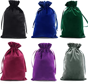 SumDirect 12pcs 6x9inch Velvet Tarot Rune Bag with Drawstring, Mixed Colors Soft Velvet Jewelry Pouches with Drawstring