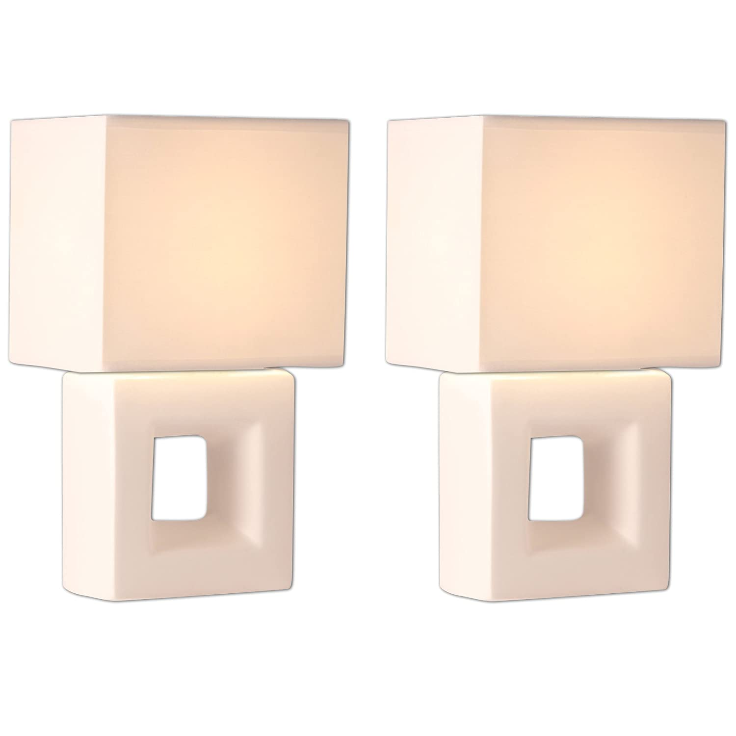 Light Accents Bedroom Side Ceramic Hollow Square Table Lamps White Finish (Set of Two)