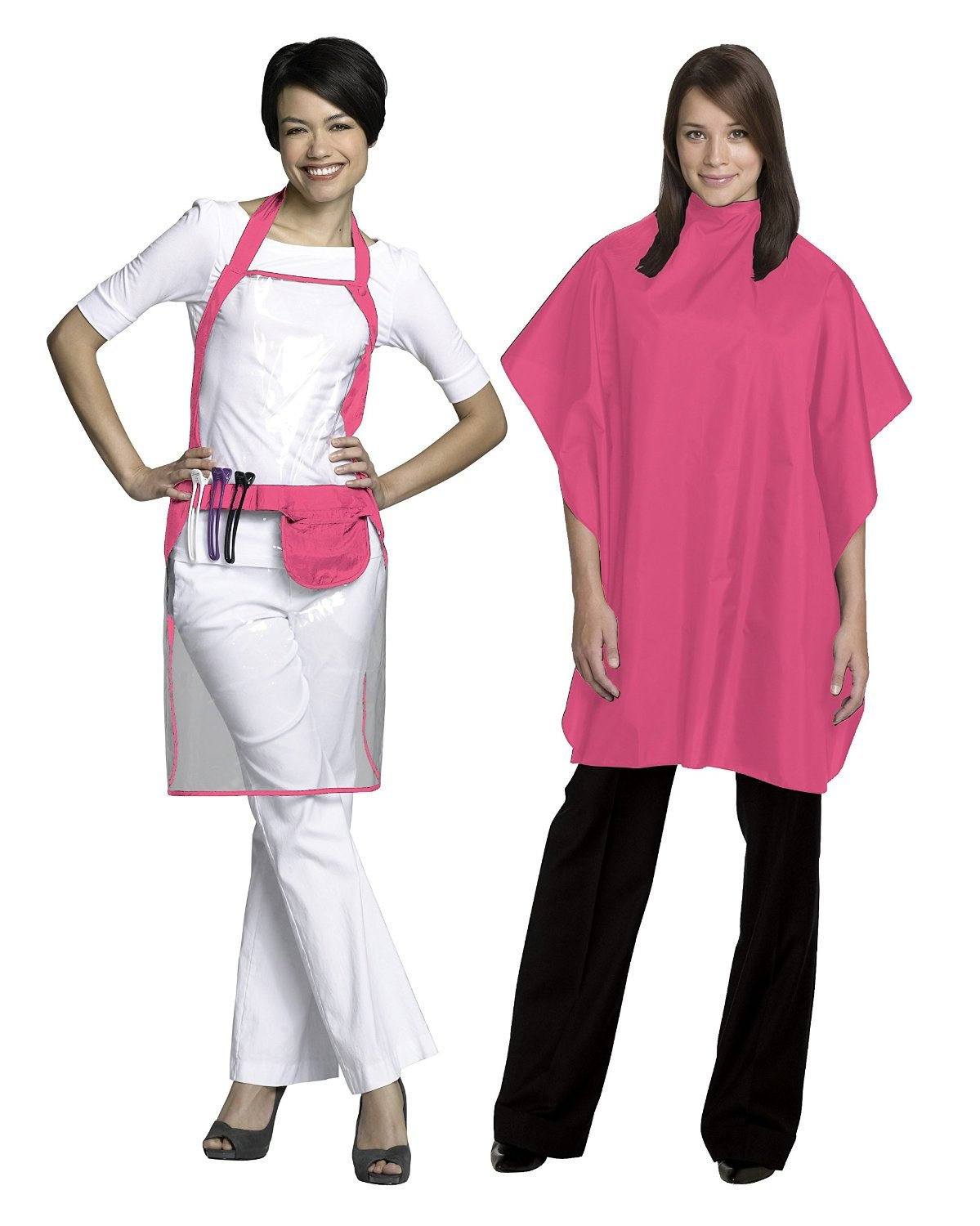 Fromm Chemical Cape and Apron Set, Pink, Water and Chemical Resistant, Chemical Proof Button Closure and Ties, Shampoo and Haircut cape, Storage to hold shears, Clear Vinyl, Allpurpose Cape, 36 inches by 54 inches, Nylon Mate