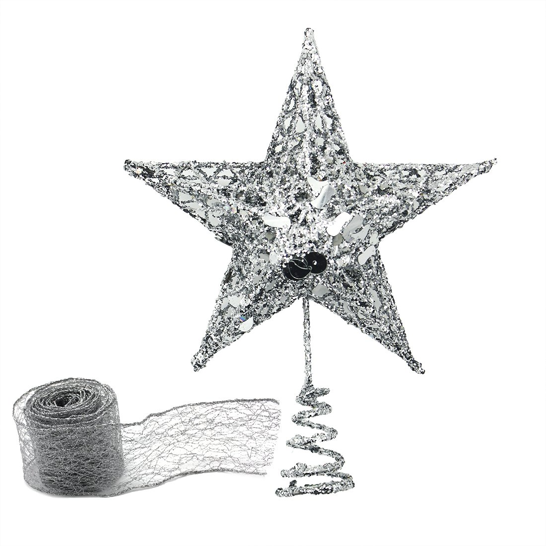 Shinybaby Christmas Sparkling Silver Star Tree Topper with 2 Meters Silver Ribbon for Festive Decor,8-inch x 6-inch(Silver)