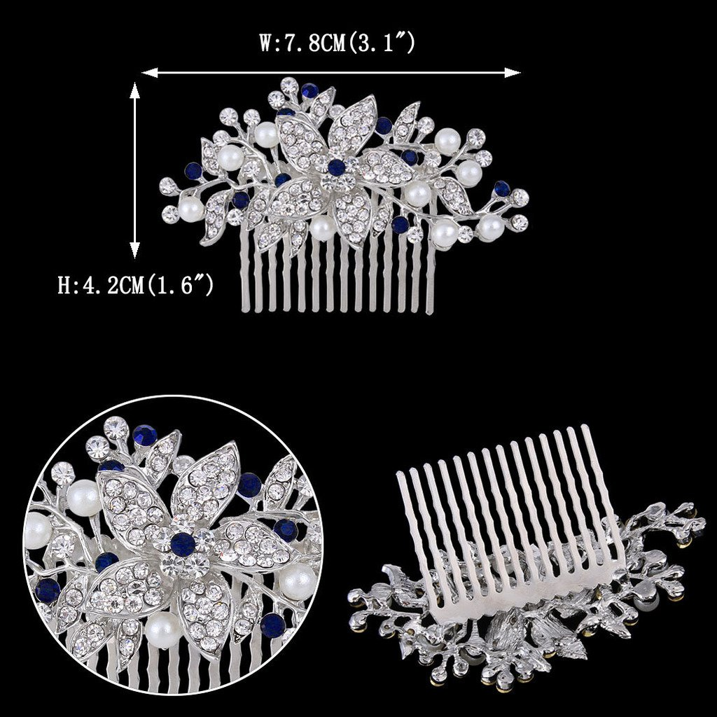 EVER FAITH Silver-Tone Crystal Simulated Pearl Flower Leaf Vine Hair Comb Blue Sapphire-color by EVER FAITH (Image #5)