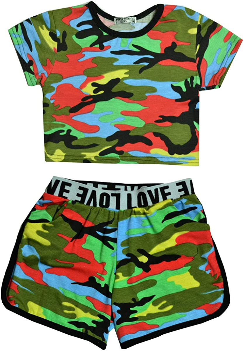 Miss Vanilla Girls Camo Crop Top and Shorts Outfit New Kids Summer Set Age 5-13 Yrs