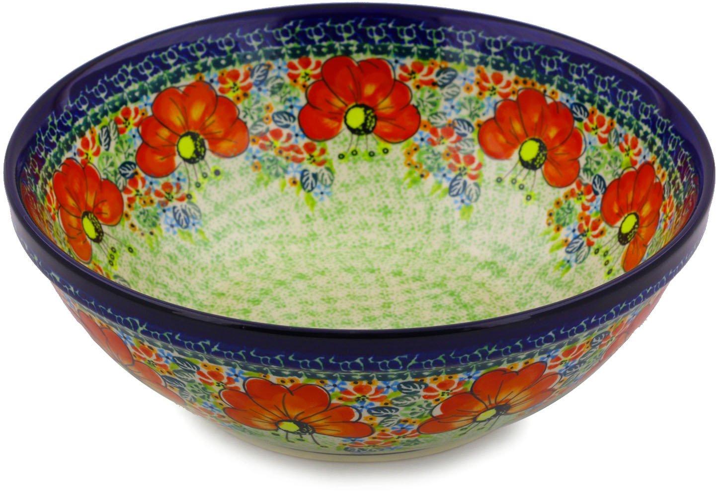 Polish Pottery Bowl 9-inch (Garden Meadow) UNIKAT by Polmedia Polish Pottery