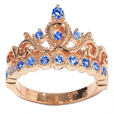 Amazon 14k gold princess crown with sapphire birthstone ring 14k rose gold princess crown with sapphire birthstone ring september aloadofball Images