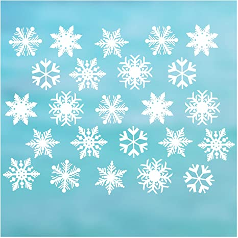 Cualfec Snowflake Window Clings for Glass Windows Regular Size /& Extra Large Size Window Decals Reusable /& Removable Static Material