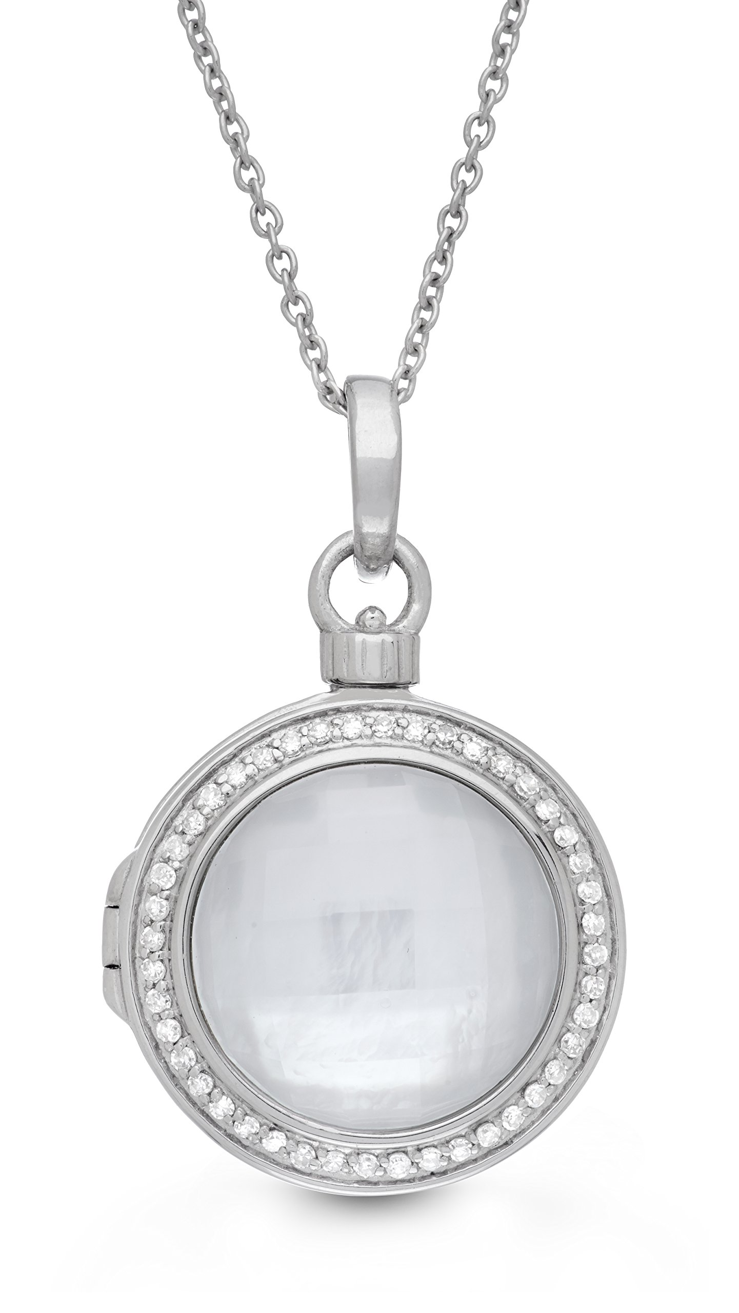 Sterling Silver-Diamond-MOP-Custom Photo Locket Necklace-34-inch chain-The Michael by With You Lockets