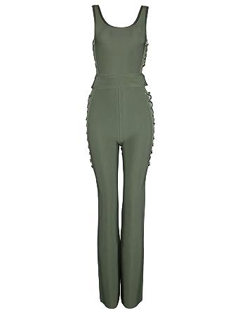 3ee0a6041ccf Amazon.com  Meilun Women s Side Cross Criss Lace Up Bandage Party Bodysuit  Jumpsuit  Clothing