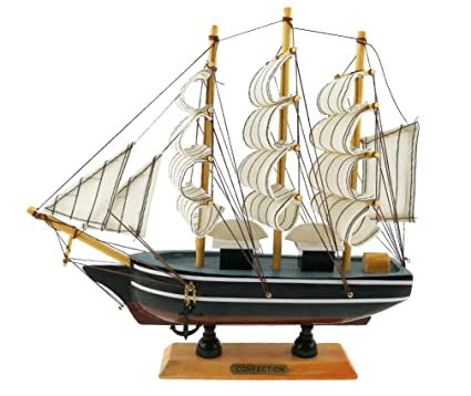 winterworm retro vintage handmade wooden sailboat sailing boat model ornament for home office desk decoration display