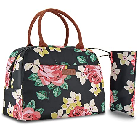 90a3bbcf4f0f B4Life Lunch Bag for Women Insulated Lunch Tote Bag Waterproof Lunch Box  Cooler Bag for Work/Picnic/Camping/Beach/Boating/Fishing (Peony)