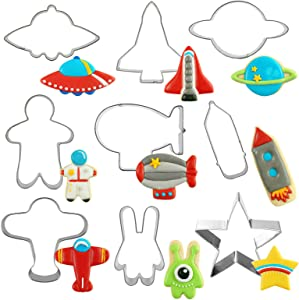 HENGYID Animal Cookie Cutter Set - 9 PCS Stainless Steel Shaped Cookie Candy Food Cutters Molds for DIY, Kitchen, Baking, Cake, Holiday Celebration, Kids Animal Themed Birthday Party (Space)