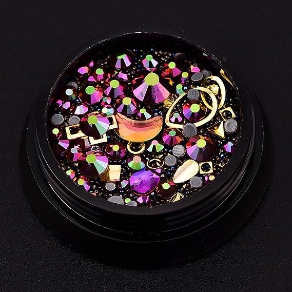 uñas decoracion, Sannysis 1 cajas con con remaches y cristales de resina de color oro, multicolor con forma de diamantes de imitación para decoración 3d de ...