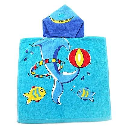 Highdas Niños toalla de baño bebé Kids algodón encapuchado Poncho 50 * 100cm (Blue Dolphin
