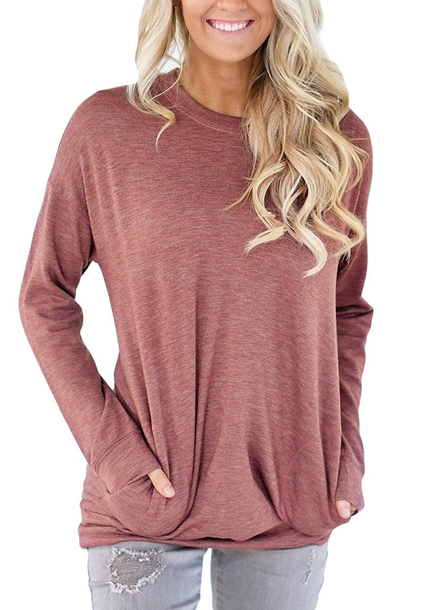 NICIAS Womens Casual Long Sleeve Crew Neck Loose Tunic Tops Blouse T-Shirt with Pockets(Light Wine, Large)