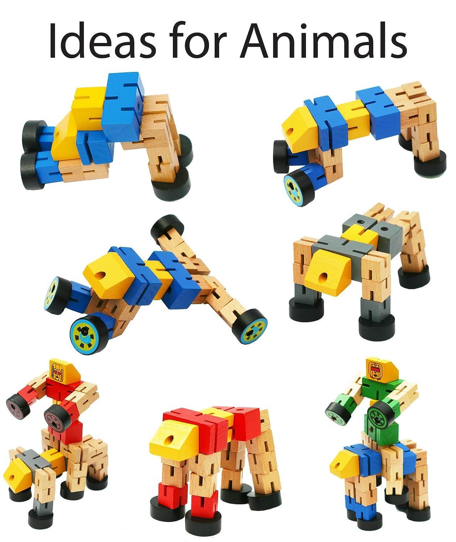 Construcci/ón juegetes de madera para ni/ños autom/óviles y figuras deportivas Transformers juguete para transfigurar en animales Toys of Wood Oxford NARANJA Robot de madera de transformador
