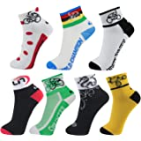 LIN 7 Pack Cycling Socks CoolMax Ankle Bike Socks Cool Funny Bicycle Socks Men and Women