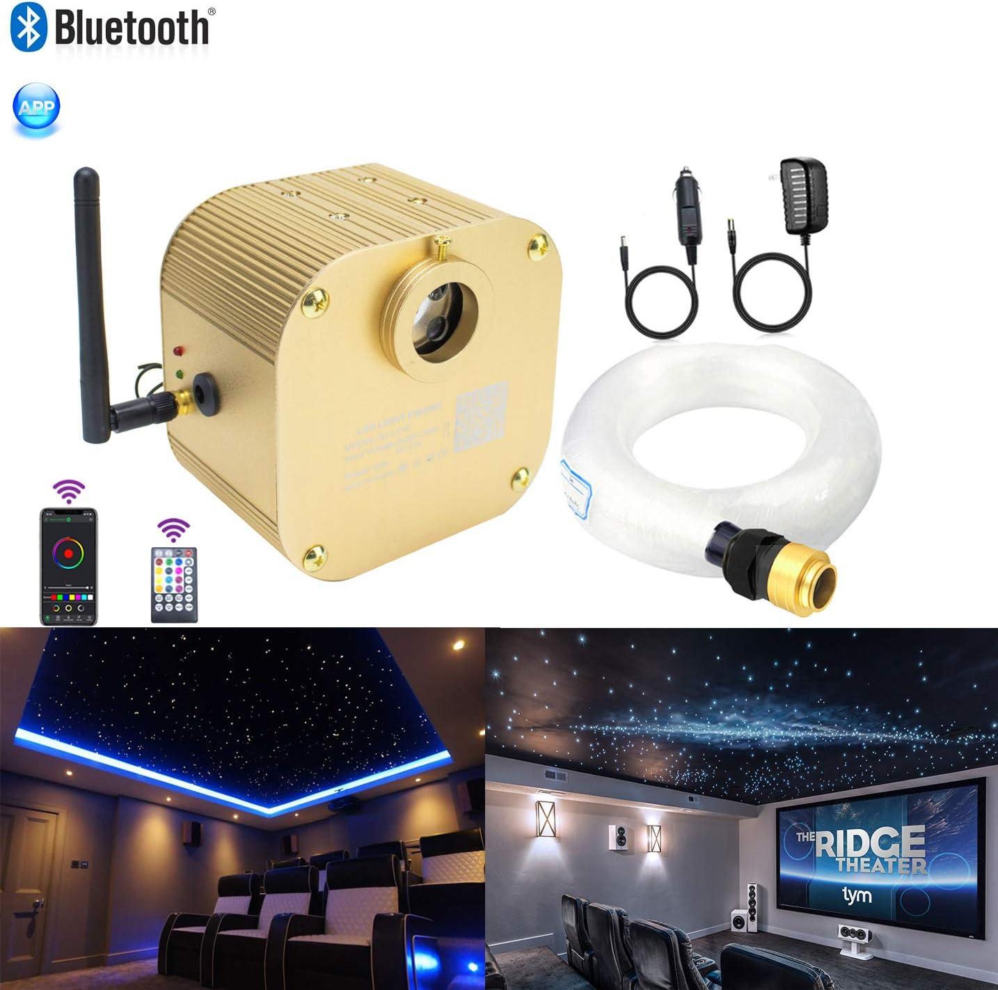 AZIMOM Bluetooth/APP Control 16W Twinkle Fiber Optic Lights Star Ceiling Lighting Kits Remote RGBW Music Mode Light Engine Fiber Strands for Home Indoor Car Interior Decoration 550pcs0.03in13.1ft