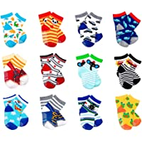 LGNTXDC 12 Pair Unisex Baby Anti-Slip Socks, 1 to 3 Years Old Toddler Infants Kids Sock Cute Design Curious, Security…