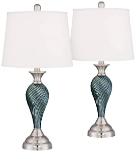 Arden Modern Table Lamps Set of 2 Green Blue Glass Twist Column Steel Base Empire Shade for Living Room Family Bedroom