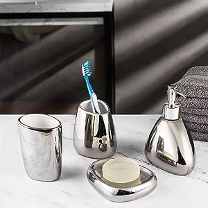 MyGift 4-Piece Modern Silver Bathroom Accessory Set w/Soap Dispenser, Tumbler, Toothbrush Holder & Soap Dish