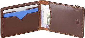 A-SLIM Kihaku Band Close RFID Wallet - 2 Card Slots and 2 Slip Compartments - Small Wallet with Band (Mahogany Brown & Havanna Tan)