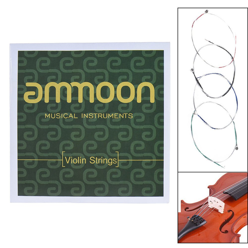 ammoon Full Set Violin Strings Size 4/4 & 3/4 Violin Strings Steel Strings G D A and E Strings