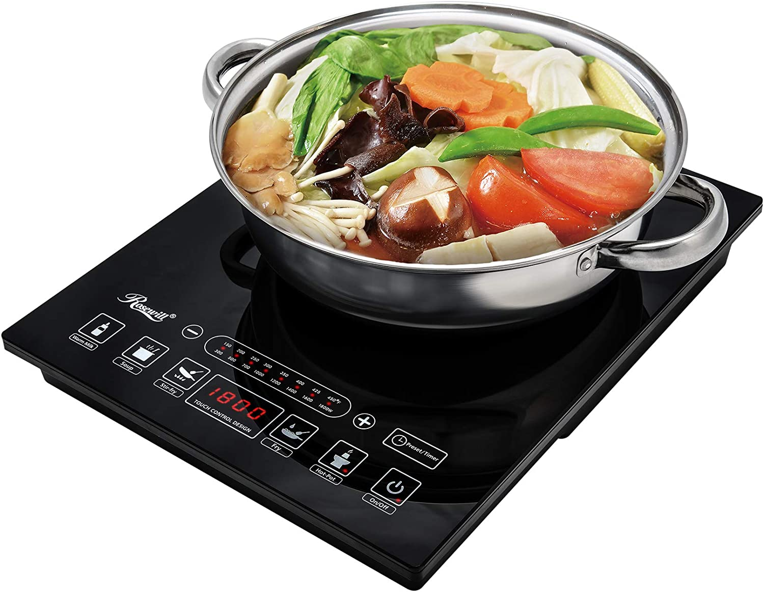 Rosewill Induction Cooker 1800 Watt, 5 Pre-Programmed Induction Cooktop, Electric Burner with Stainless Steel Pot 10