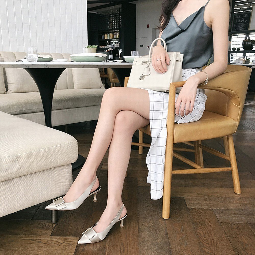 DHG Spitze Quadratische Schnalle Zwerg mit Flachen Mode Sandalen zu Flachen mit Mund mit Echten Schuhen zu Tragen Silber grau 37 61cafb
