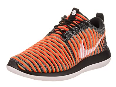 06dc2bc2b6d5 Nike Womens Roshe Two Flyknit Black White Bright Mango Running Shoe 6 Women  US