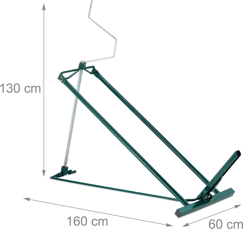 400 kg inclinazione Continua Relaxdays Rasentraktor Hebevorrichtung Dispositivo di Sollevamento per trattorino Tosaerba Acciaio Verde