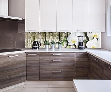 Küchenrückwand Holz Zaun weiße Orchidee Nischenrückwand Spritzschutz ...