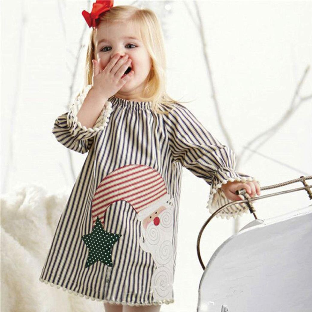 3cee456caf17c Amazon.com: FEITONG Toddler Little Girls Santa Striped Princess Dress  Christmas Outfits Clothes: Clothing