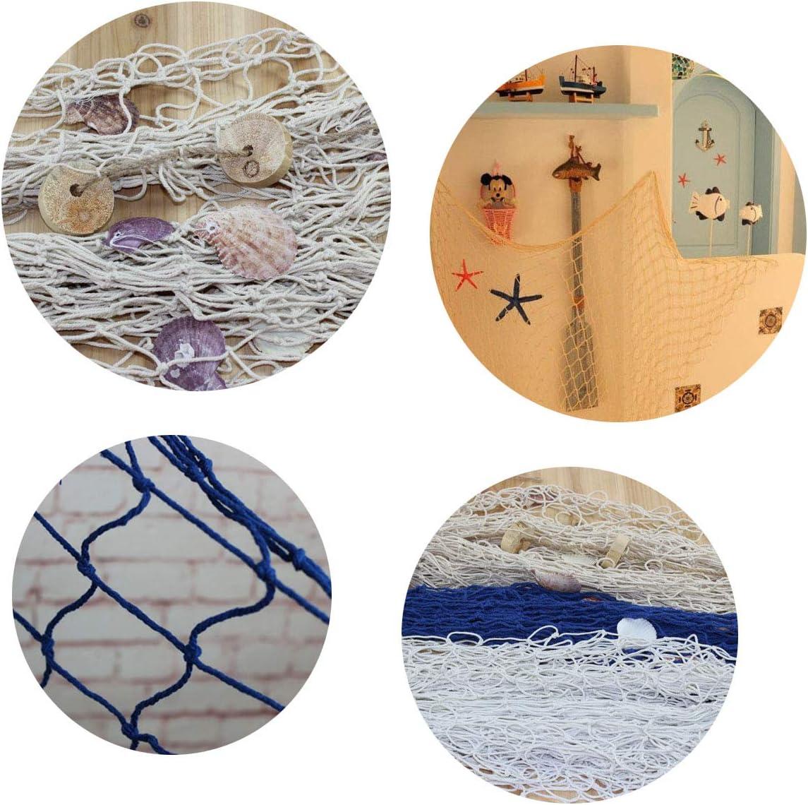 1 * 2M,1.5 * 2M Tangger 2 PCS Rete da Pesca Decorativa Blu e Beige,Rete da Pesca Decorativa Fotografie Decorative per Reti da Pesca Feste a Tema con Oceano Mediterraneo Pirate Beach