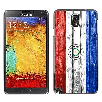 FJCases Paraguay Paraguayo Bandera con Patrón de Madera Carcasa Funda Rigida para Samsung Galaxy Note 3
