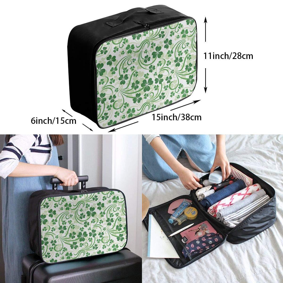 ADGAI Lucky Celtic Clovers Swirls Canvas Travel Weekender Bag,Fashion Custom Lightweight Large Capacity Portable Luggage Bag,Suitcase Trolley Bag