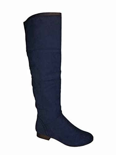 c2e85adf2e7b Ladies Long Flat Navy Blue Suede Boots