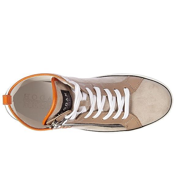 Hogan Rebel Scarpe Sneakers Alte Donna in camoscio Nuove r182 Beige EU 35  HXW1820Q98079N225L  Amazon.it  Scarpe e borse 36e5eef7ab8