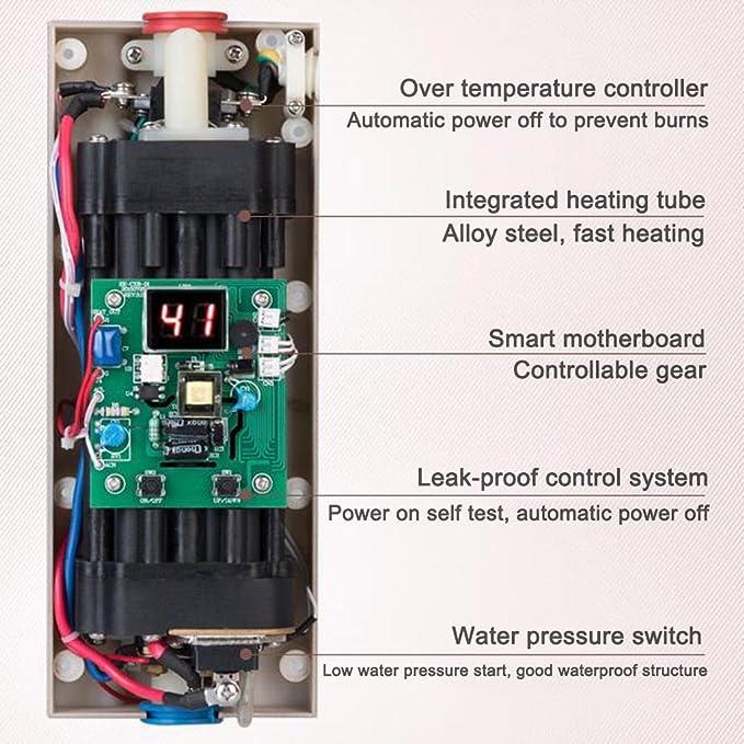 Calentador de agua eléctrico instantáneo 220V 5500W Calentador de agua de baño doméstico Calentador de agua rápido inteligente mini Calentador de agua sin ...