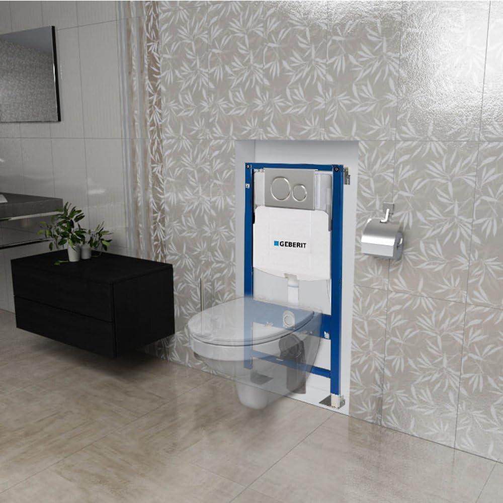 Pack WC suspendida completo gebrite color blanca con una placa doble picada: Amazon.es: Bricolaje y herramientas
