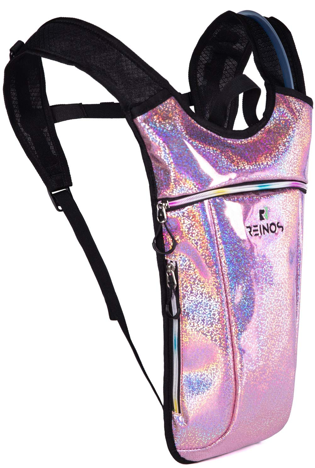 REINOS Hydration Backpack - Light Water Pack - 2L Water Bladder Included for Running, Hiking, Biking, Festivals, Raves (Light Pink Sparkles) by REINOS